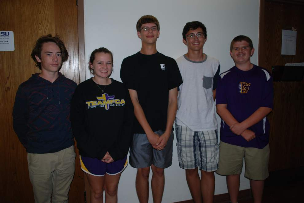 pictured from left to right: Levi Thompson, Hannah Graham, Jonas Truax, Juan Cecchini and Tim Marquess will play with the Louisiana Youth Orchestras for 2015-16.
