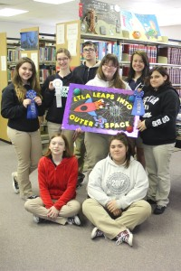 Pictured, standing from left to right, are Maurepas High School Library Club members Sophia Salinas, Ava Borskey, Chaz Montaldo, Kayleigh Kuykendall, Cassie Wesley, Megan Alexis, and seated from left to right, Rebecca Weir and Cayla Breland.