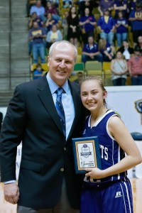 Holden High School's Kaitlyn Kropog is awarded a plaque for being named the 2016 Class B State Championship Game's Outstanding Player.