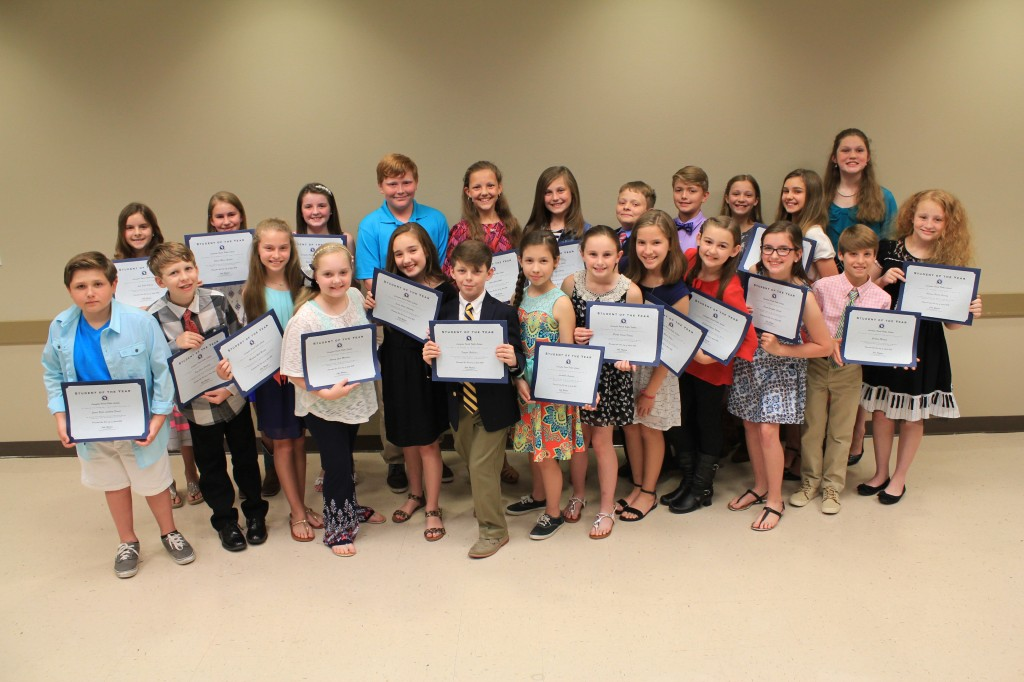 The 2016 Livingston Parish Elementary Student of the Year winners include: (pictured from left to right) – Clancy Morrison, Albany Middle; Brooke Foster, Denham Springs Elementary; Madelyn Morgan, Doyle Elementary; Sylvia White, Eastside Elementary; Emma Gaudet, French Settlement Elementary; Ada Ishler, Freshwater Elementary; Brooke Dupuy, Frost; Jenna Shakotko, Gray's Creek Elementary; Autumn Herring, Holden; Tyler Kimble, Juban Parc Elementary; John Bergeron, Levi Milton Elementary; Sabrina Bishop, Lewis Vincent Elementary; Abbigail Delanoix, Live Oak Elementary; James Ernest, Maurepas; Ashly Veazey, North Corbin Elementary; Zachary Morgan, North Live Oak Elementary; Emma Carroll, Northside Elementary; Michael Dunlap, Seventh Ward Elementary; Tony Courville, South Fork Elementary; Keagan Rabalais, South Live Oak Elementary; Ava Pitarro, South Walker Elementary; Madalyn Harris, Southside Elementary; Katie Riddle, Springfield Middle; and Annabelle Fontenot, Walker Elementary.