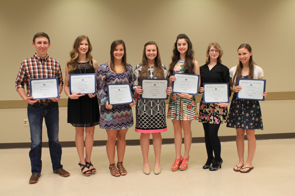 The 2016 Livingston Parish High School Student of the Year winners include: (pictured from left to right) -- Madison Peters, Albany High; Kacey Chopin, Denham Springs High; Nathaniel Bankston, Doyle High; Brooks Courtney, Holden High; Haley Miller, Live Oak High; Holly Garland, Maurepas High; Taylor Prudhomme, Springfield High; and Laynie LeBlanc, Walker High.