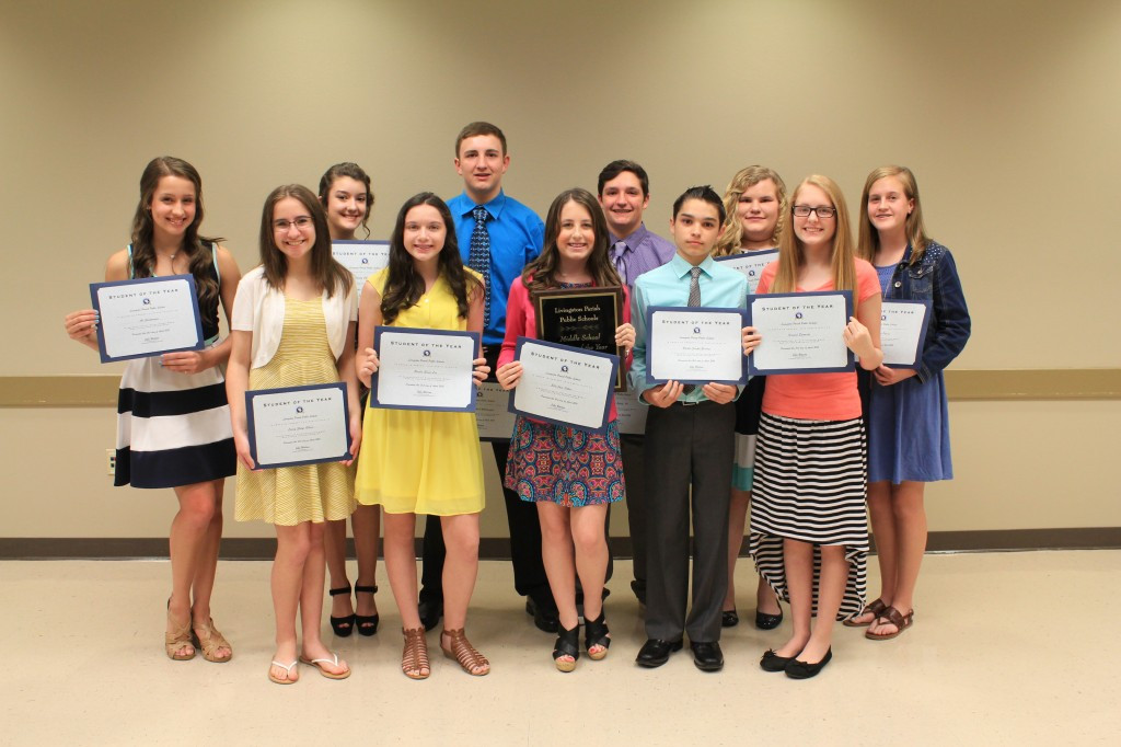 The 2016 Livingston Parish Middle School Student of the Year winners include: (pictured from left to right) -- Grace Purvis, Albany Middle; Ella Otken, Denham Springs Junior High; Cassidy Charpentier, Doyle Junior High; Dannah Lynn Martin, French Settlement Junior High; Kristal Edwards, Frost; Josie Lea Purvis, Holden Junior High; James Gould, III, Juban Parc Junior High: Parker Giering, Live Oak Middle; Bryce Felps, Maurepas Junior High; Casey Gibson, North Corbin Junior High; Logan Whittington, Southside Junior High; Brielle Lee, Springfield Middle; and Ali Gautreaux, Westside Junior High.