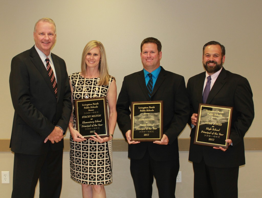 Livingston Parish Principals of the Year – The Livingston Parish Principal of the Year winners were honored at a special May 5 ceremony.  Superintendent John Watson presented plaques to the winners, pictured left to right:  Elementary School Principal of the Year Stacey Milton, Seventh Ward Elementary; Middle School Principal of the Year Jeff Frizell, Juban Parc Junior High; and High School Principal of the Year Kelly Jones, Denham Springs High School.  Frizell was also named a semi-finalist for the Louisiana Middle School Principal of the Year.