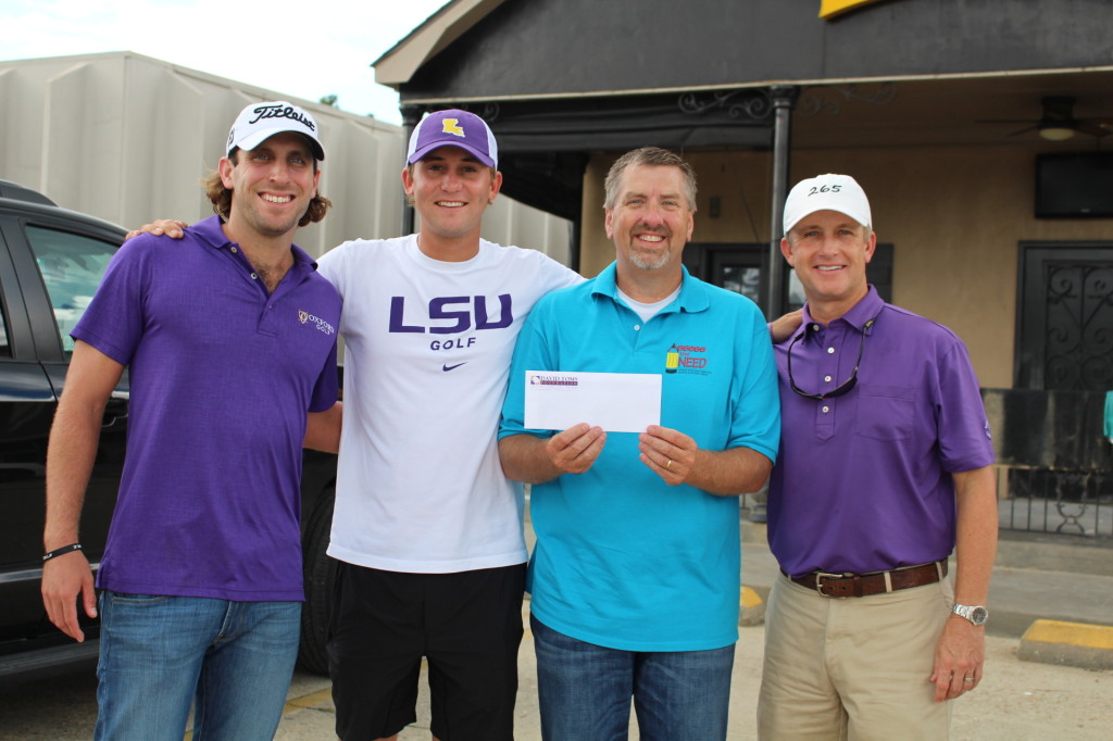 PGA golfers Andrew Loupe, Smylie Kaufman and David Toms recently presented a $50,000 check to Livingston Parish Assessor Jeff Taylor to benefit Assess the Need's flood relief effort.  A PGA film crew documented the golfers' recent visit to Denham Springs, and a video feature on the flooding and local recovery efforts is expected to air in the coming month.