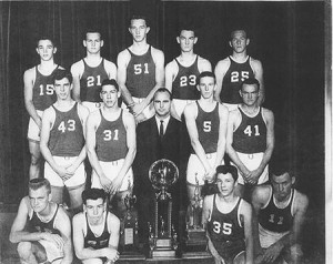 "Holden High School's 1963 boys state championship basketball team, from left to right: (front row) Wayne Stewart, Nelson Hinson, Sherman Mack, Van Osborne, (middle row) Clinton Mitchell, Thomas ""T.L."" Hodges, Coach Alton Leggette, Mike Higginbotham, Ronald Sykes, (back row) Corley Trawick, Charles Allen, Edward ""Ed"" Green, Richard Harrison and Emerson Causey."