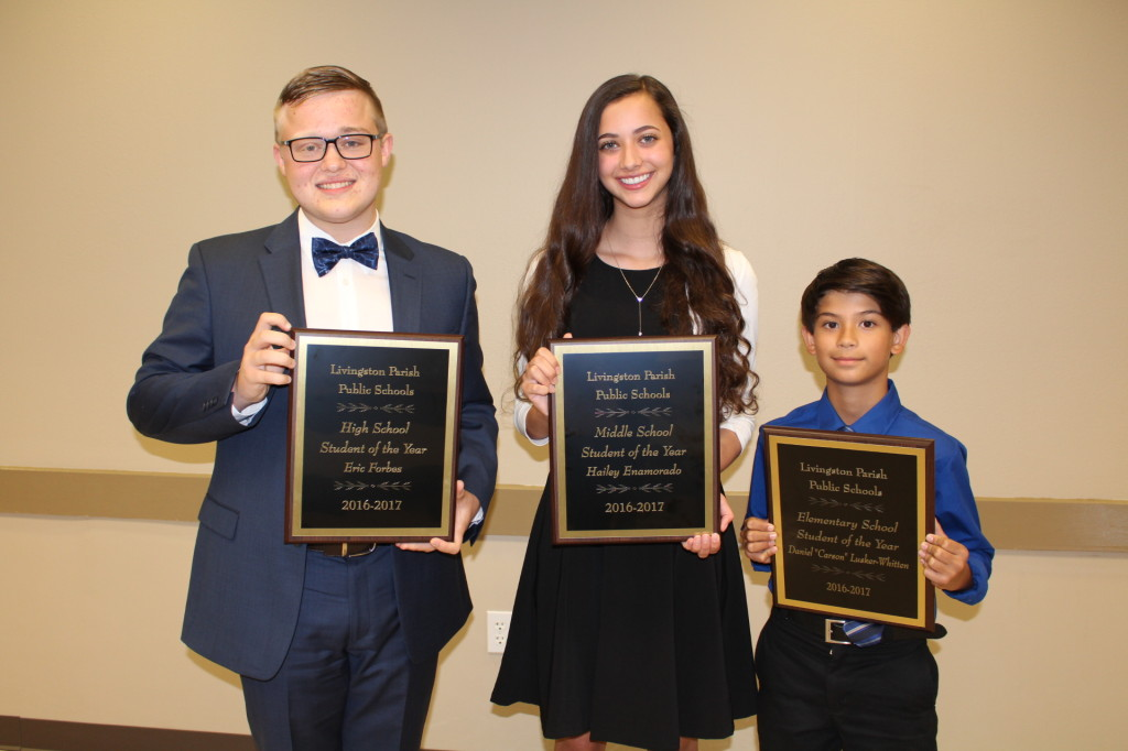 The 2017 Student of the Year winners for Livingston Parish include High School Student of the Year Eric Forbes from Holden; Middle School Student of the Year Hailey Enamorado from Denham Springs Junior High; and Elementary Student of the Year Daniel Lusker-Whitten from Eastside Elementary. These students will advance to compete in the state's regional competition.