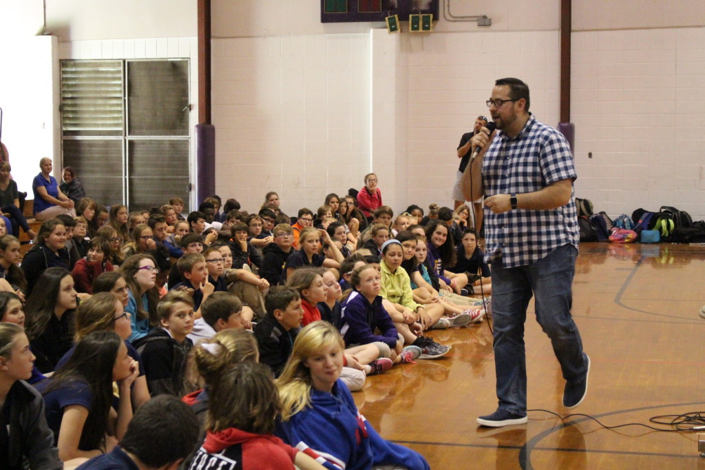 Youth Speaker Michael Cuestas recently spoke to students at Doyle Junior High School about the importance of making positive decisions. Cuestas also made presentations to Westside Junior High and Albany Middle School as part of a sponsored visit by the Livingston Parish Public School Family Resource Center. For more information about the Family Resource Center, call 225-667-1098.